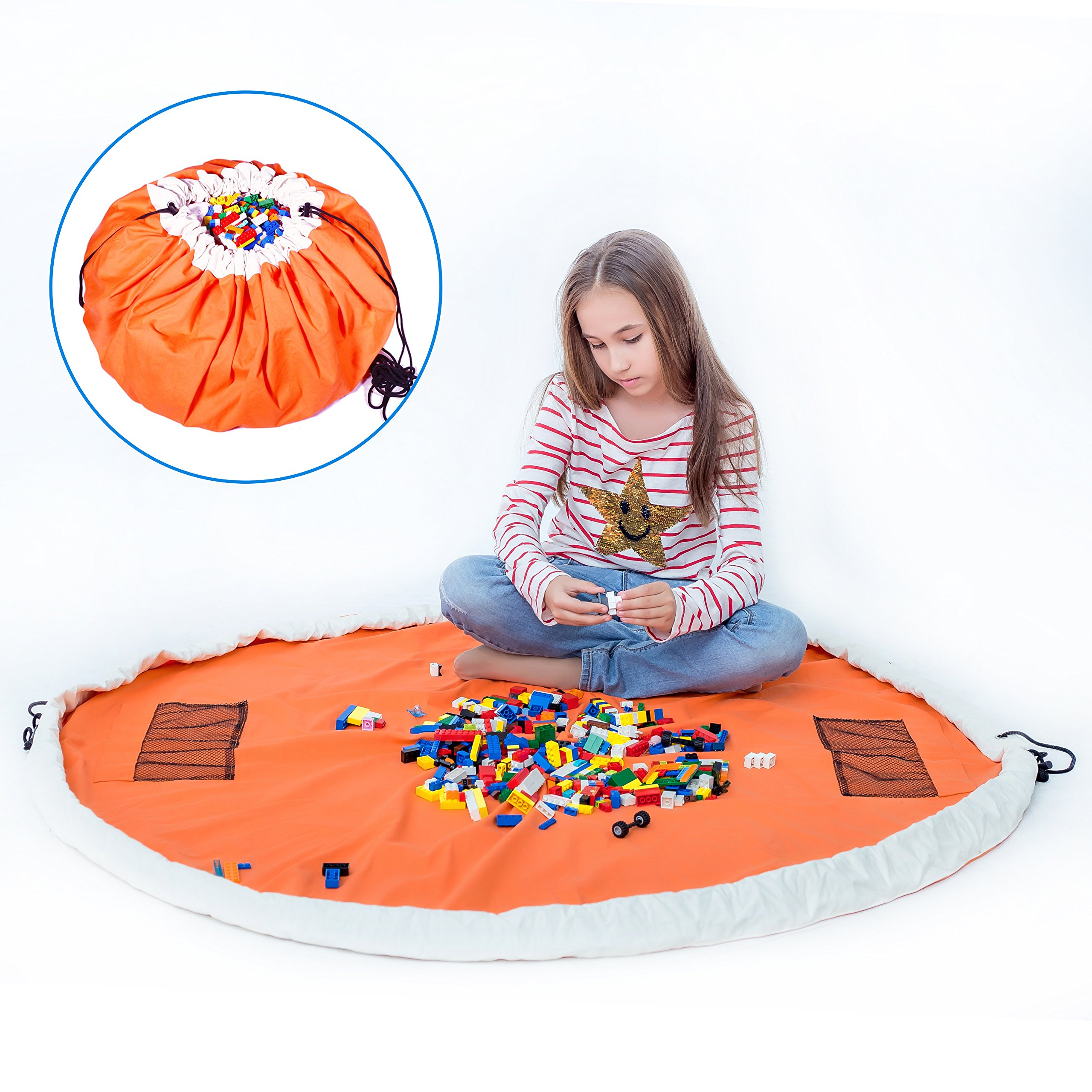 Play Mat Bag 2 in 1 – Durable100% Cotton Canvas 60inch (Orange) Large Play Mat and Storage Bag Drawstring for Lego/Magnetic Building/Blocks Convenient Fast Neat Portable