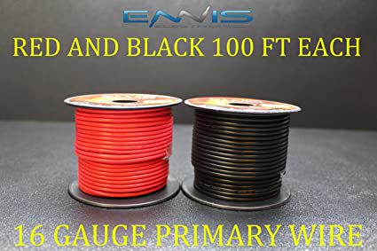 16 GAUGE WIRE RED /& BLACK 100 FT EACH PRIMARY AWG STRANDED COPPER POWER REMOTE
