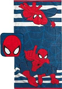 Marvel Spiderman Super Soft & Absorbent Kids 2 Piece Bath Towel & Washcloth Set - Fade Resistant Cotton Terry Towel Set (Official Marvel Product)