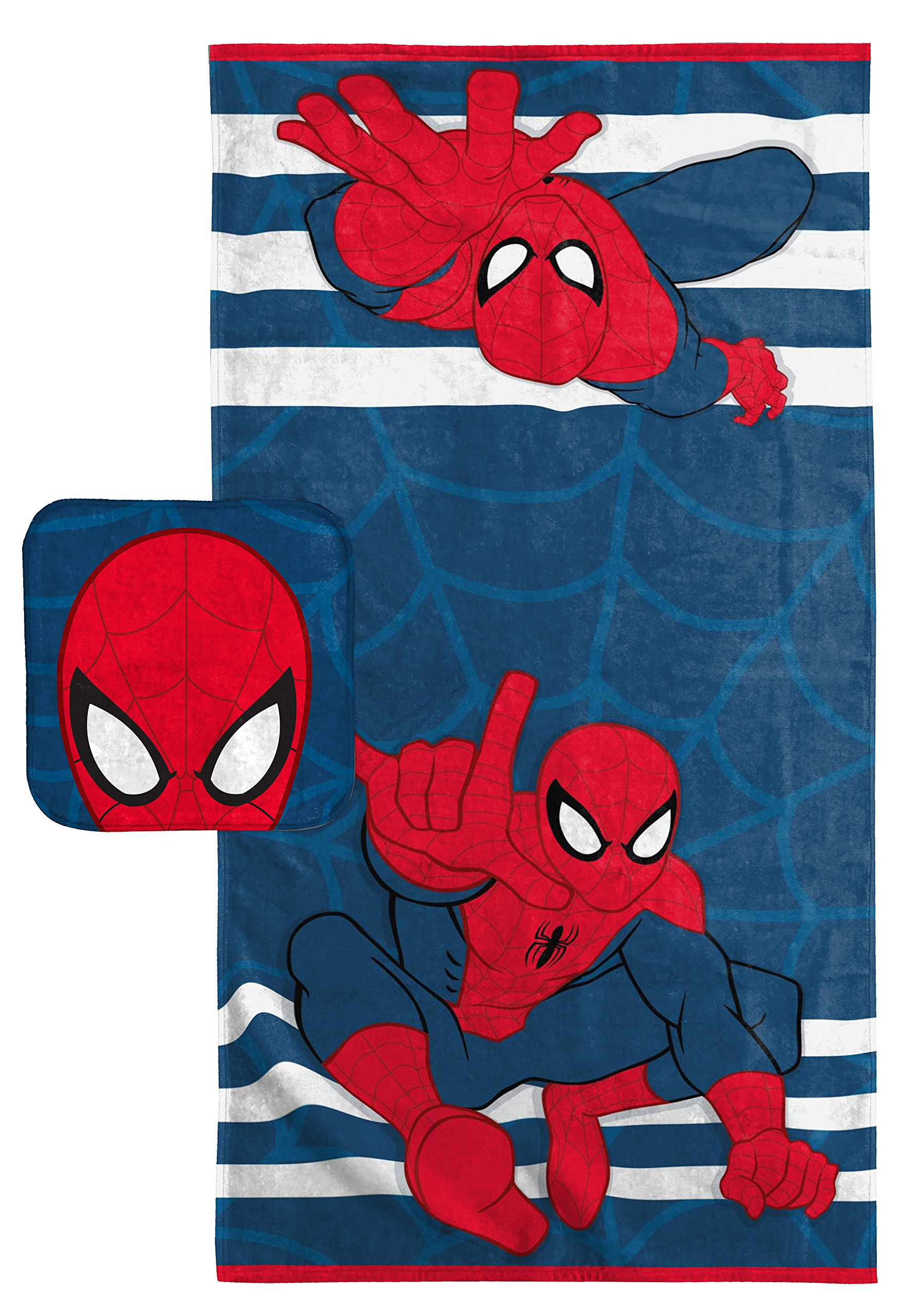 Jay Franco Marvel Spiderman Super Soft & Absorbent Kids 2 Piece Bath Towel & Washcloth Set - Fade Resistant Cotton Terry Towel Set (Official Marvel Product) by Jay Franco