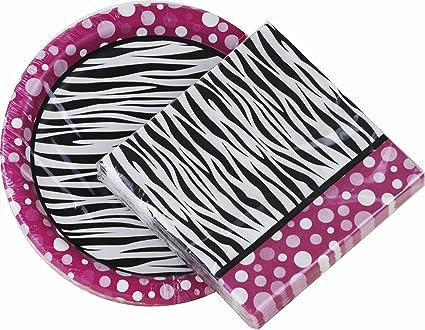 Pink Polka Dot Zebra Print Paper Plates u0026 Napkin Set (Dessert Plates and Napkins)  sc 1 st  Amazon.com & Amazon.com: Pink Polka Dot Zebra Print Paper Plates u0026 Napkin Set ...