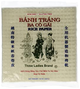 4 Packs Three Ladies Spring Roll Rice Paper Wrappers (Square 22cm)