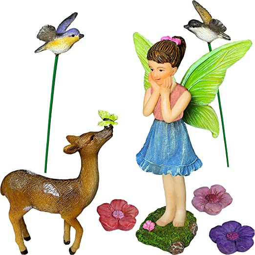 Estado de ánimo Lab jardín de Hadas Miniatura Ciervo Set de 7 Piezas, Figuras pintadas a Mano y Accesorios, Kit para al Aire Libre o casa Decor: Amazon.es: Jardín