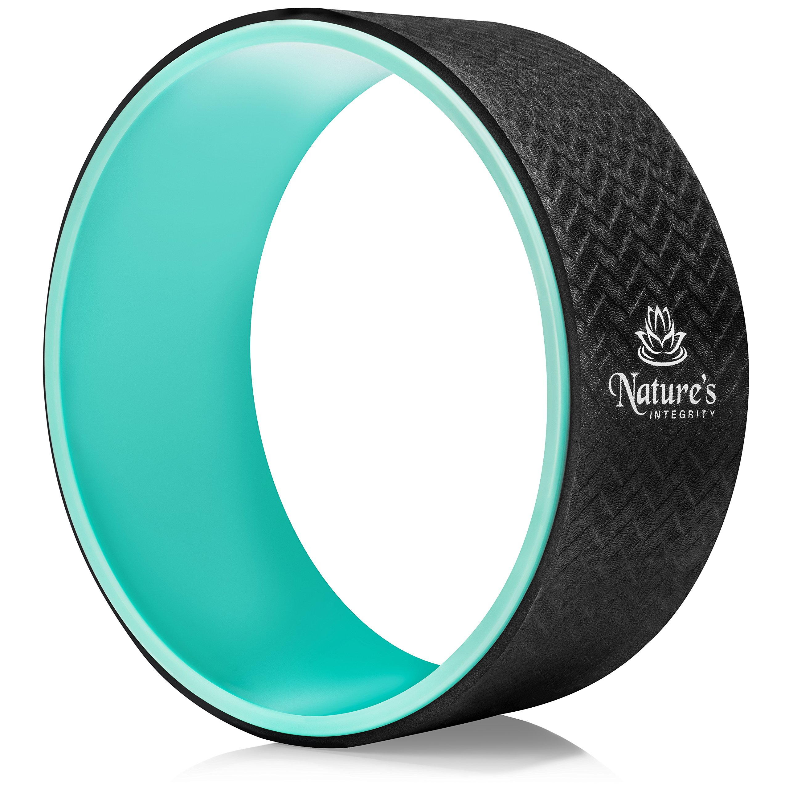 Nature's Integrity Yoga Wheel 13'' - [Strongest] Most Comfortable Dharma Yoga Prop - Perfect Yoga Roller for Stretching, Backbends & Back Pain - Sweat Resistant & Eco-Friendly - Pose Guide Included