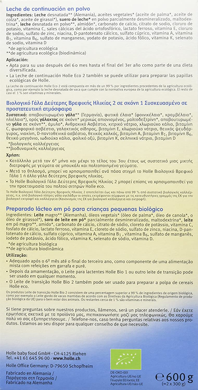 Holle Leche de Continuación Fórmula 2 (+ 6 meses) - 600 gr: Amazon.es: Alimentación y bebidas
