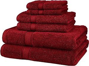Pinzon 6 Piece Blended Egyptian Cotton Bath Towel Set - Cranberry