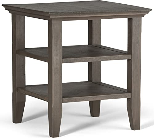 SIMPLIHOME Acadian SOLID WOOD 19 inch wide Square Rustic Contemporary End Side Table