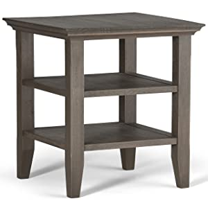 Simpli Home AXWELL3-003-FG Acadian Solid Wood 19 inch Wide Square Rustic End Table in Farmhouse Grey