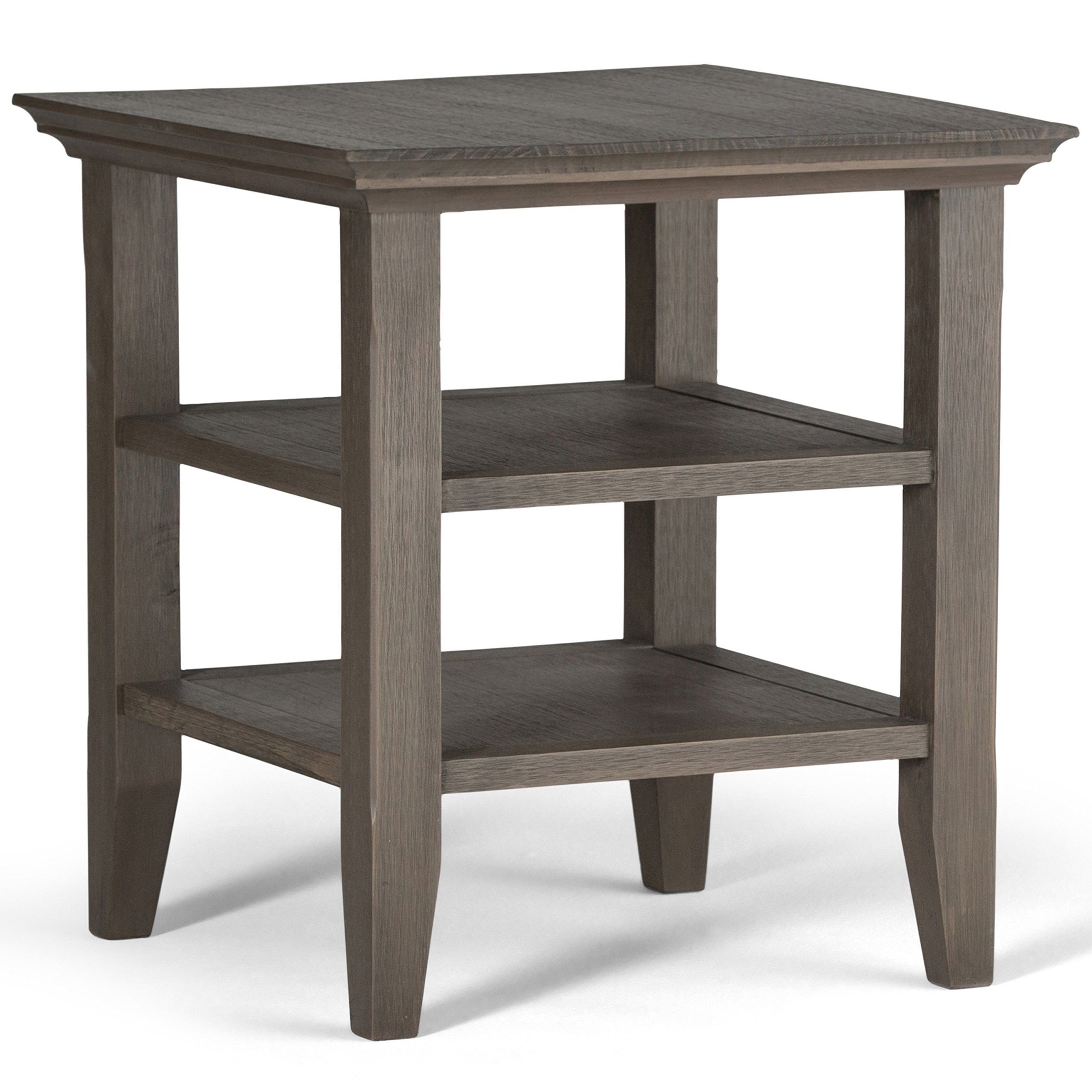 Simpli Home Acadian Solid Wood End Side Table, Farmhouse Grey
