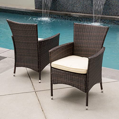 Christopher Knight Home 295968 Clementine Outdoor Multibrown PE Wicker Dining Chairs