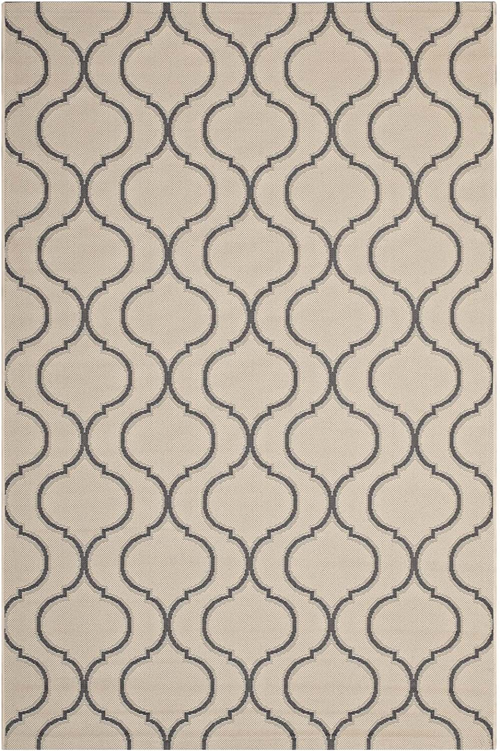 Modway Linza Wave Abstract Trellis 5x8 Indoor and Outdoor In Beige and Gray