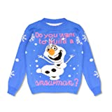Blush Avenue® Boys Girls Kids Frozen OLAF Wana Build a Snowman Novelty Christmas Xmas Retro Novelty Jumper Knitted 2-12