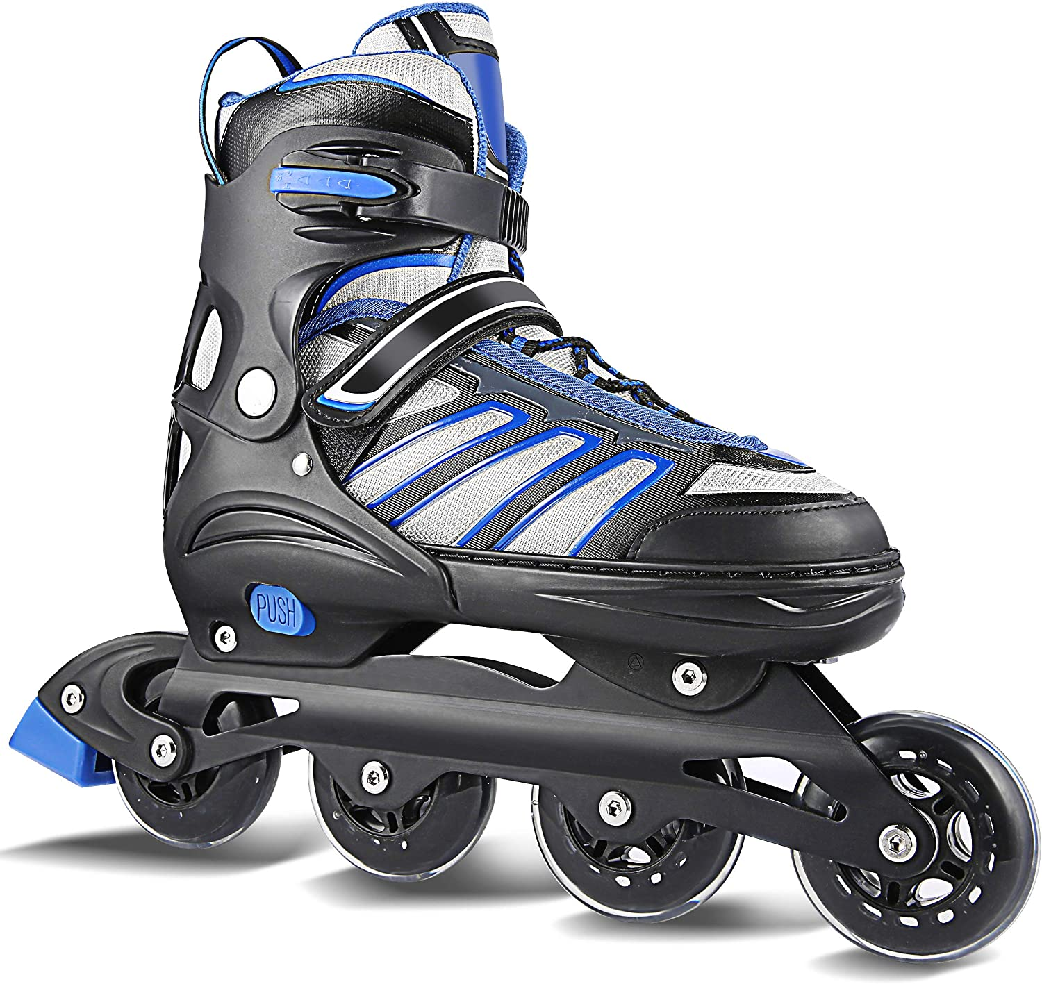 Hikole Inline Skates for Adult Men Women – Adjustable Size Roller Skates – Boy Fitness Breathable Switchable Roller Inline Skates for Beginner-Intermediate