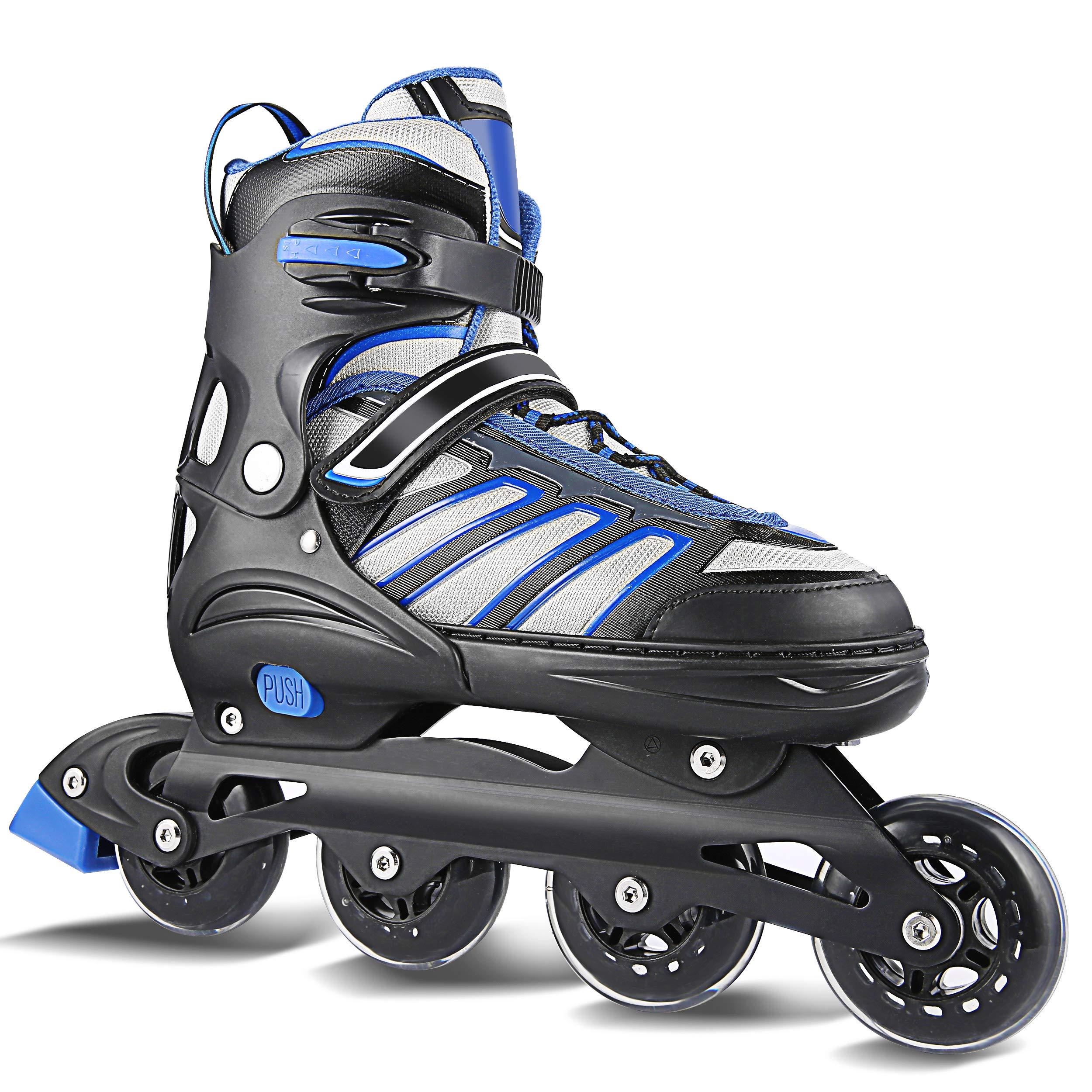 Hikole Inline Skates for Adult Men Women - Adjustable Size Roller Skates - Boy Fitness Breathable Switchable Roller Inline Skates for Beginner-Intermediate
