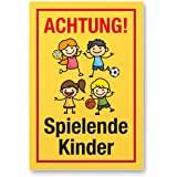 hinweisschild warnschild achtung spielende kinder isecur gr e 20x30cm art hin 110. Black Bedroom Furniture Sets. Home Design Ideas
