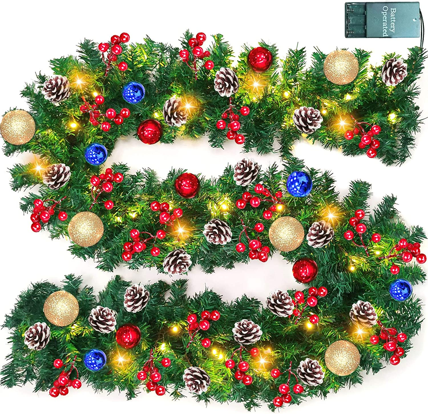 TURNMEON 9 FT Christmas Garland Decor with Lights Glitter Ball Ornaments, Battery Operated Xmas Garland Wreath with 280 Thick Branch 90 Red Berry Pine Cone,Indoor Outdoor Home Christmas Decor (Gold)
