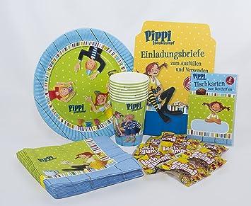 Pippi Langstrumpf Geburtstagsset Mit Einladungskarten, Tischkarten,  Pappteller, Pappbecher, Servietten Und Lachgummis /