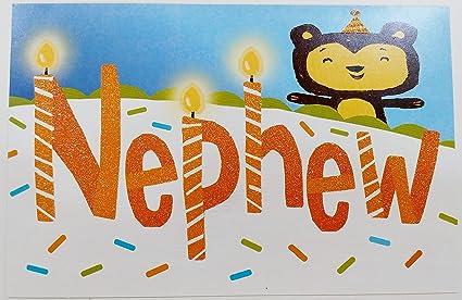 Amazon Com Happy Birthday Nephew Cute Teddy Bear Greeting Card
