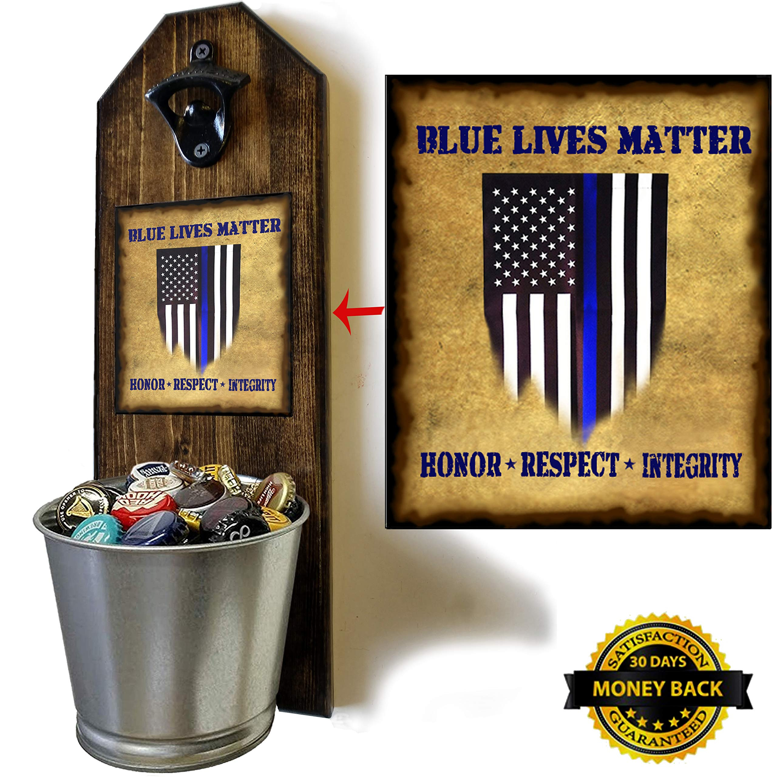 ''Blue Lives Matter'' Bottle Opener and Cap Catcher - Handcrafted by a Vet - Solid Pine 3/4'' Thick, Rustic Cast Iron Opener and Galvanized Bucket - Law Enforcement - Police - Heroes by CherryPic Junction