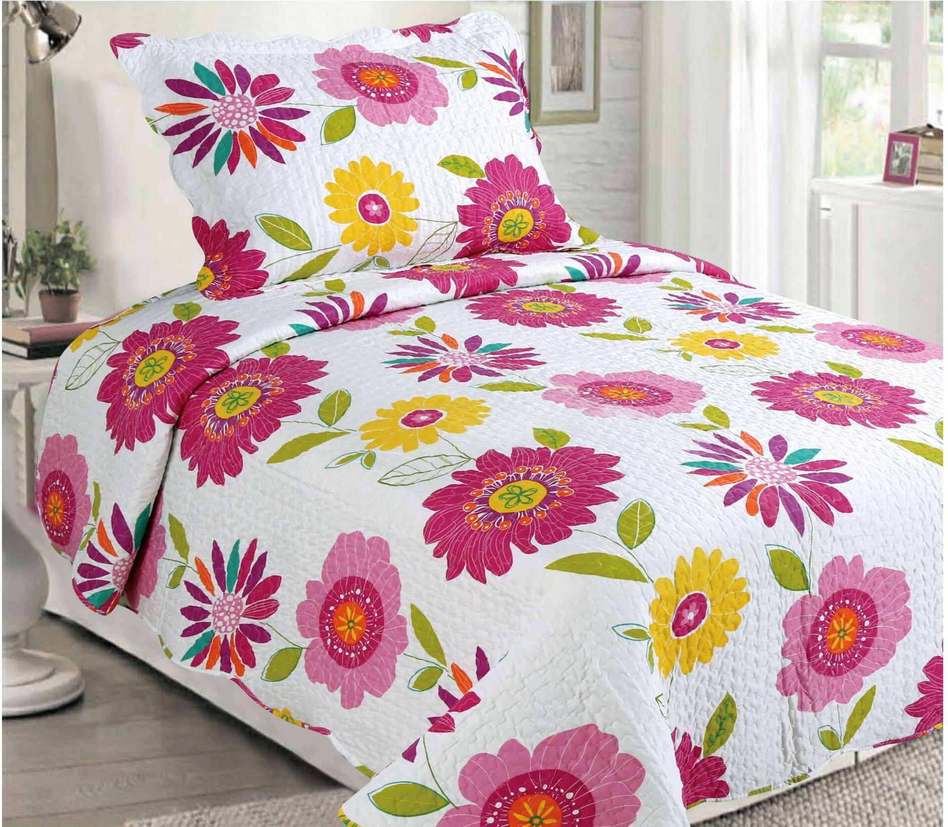 LuxuryDiscounts 2 Piece Multicolor Floral Pattern Kids Quilt Bedspread Coverlet Set, Twin QS-32