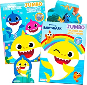 Baby Shark Coloring Book Super Set - Bundle Includes 2 Baby Shark Activity Books with 300 Bonus Stickers (Baby Shark Party Supplies)