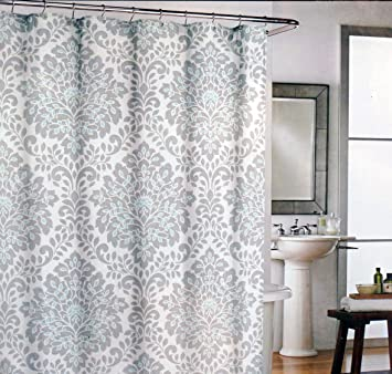 Cynthia Rowley Fabric Shower Curtain    Gray Medallions With Teal  Highlights By Cynthia Rowley New