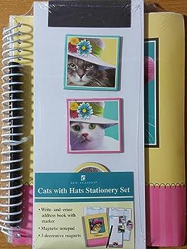 Gatos con sombreros juego de papelería - Libreta de direcciones, bloc de notas, imanes: Amazon.es: Oficina y papelería