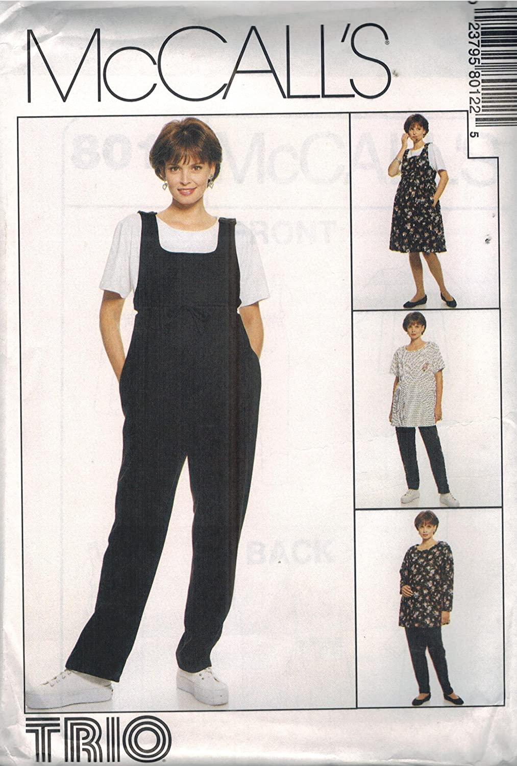 Amazon Com 8012 Mccalls Sewing Pattern Uncut Misses Maternity Jumper Jumpsuit Top Pull On Pants Size 8 10 12 Arts Crafts Sewing
