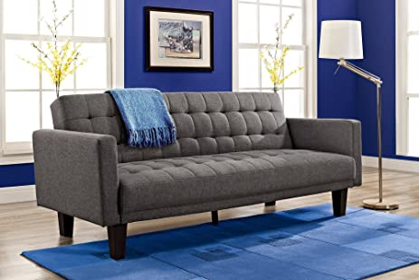 dhp sienna sofa sleeper tufted linen upholstery with tapered wooden legs gray