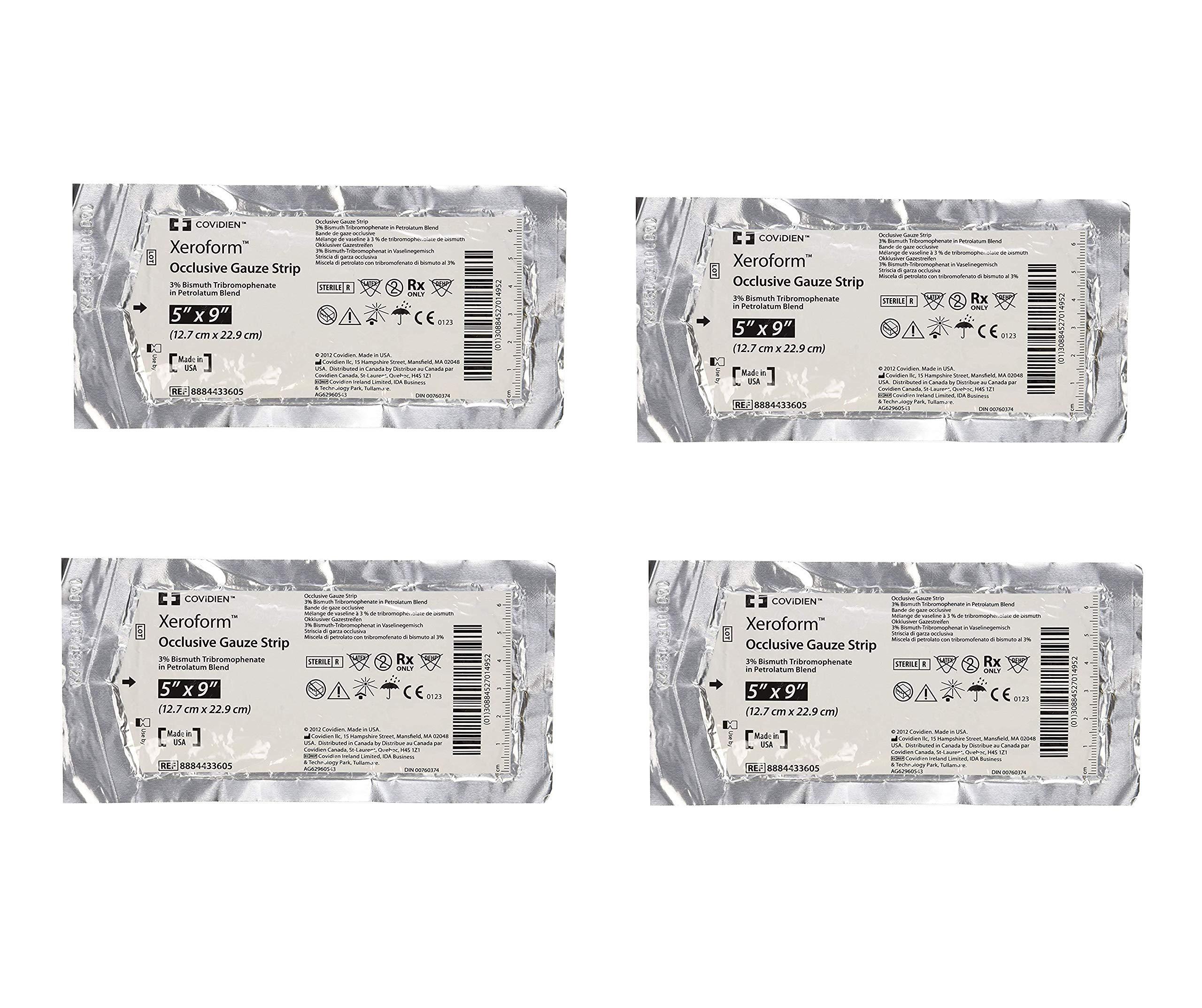 DSS Xeroform Occlusive Petrolatum Gauze Strip, 5'' X 9'', 50 Count (4 Pack)