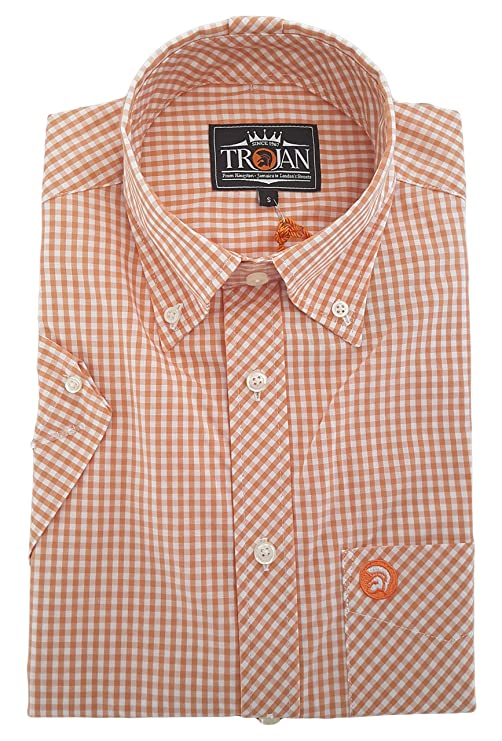 Men/'s 100/% Cotton Blue /& Black Gingham Check Shirt with Long Sleeves by Trojan.