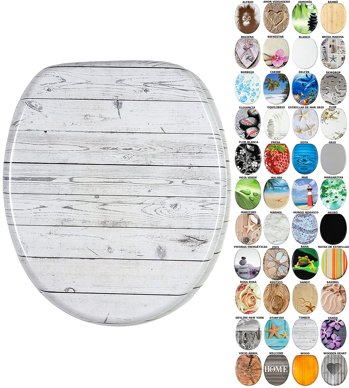 gran selecci/ón de atractivos asientos de inodoro con calidad superior y duradera de madera Mar Asiento para inodoro de cierre suave
