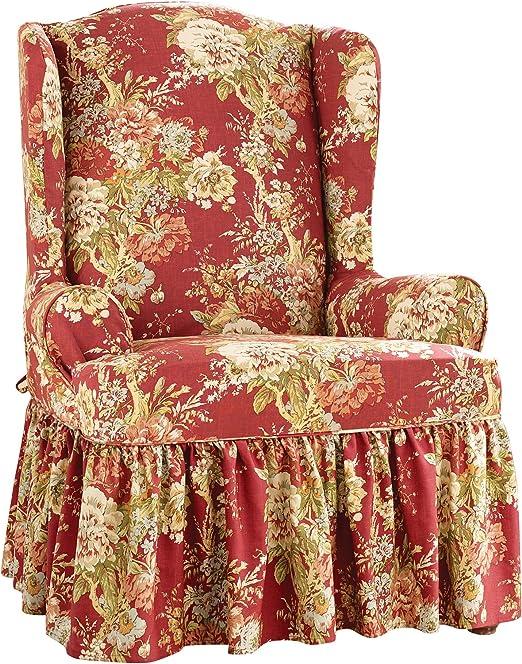 Ballad Bouquet by Waverly Loveseat Furniture Cover Crimson