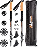 Women's or Kid's 3K Carbon Fiber Collapsible Trekking Poles for Hiking & Mountain Climbing with Cork Grips, Wrist Straps, Lightweight Travel Bag & Accessories , Anti-Shock Walking Stick Set