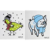 Wet-It Swedish Dishcloth Set of 2 (Chicken and Pig in Winter)