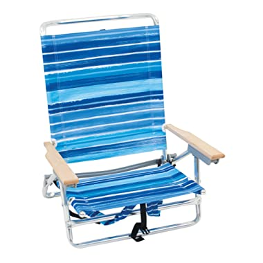 Rio Brands 5 Position Classic Lay Flat Beach Chair with Backpack Straps