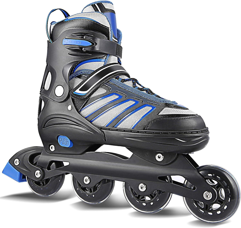 Hikole インラインスケート靴 大人 女性 若者向け サイズ調節可能 5-10.5 ローラースケート メンズ ボーイズ フィットネス 通気性あり 切り替え可能 ローラーシューズ 初心者 中級者向け ブラック-ブルー XL(US 9-12)/(265-285mm)