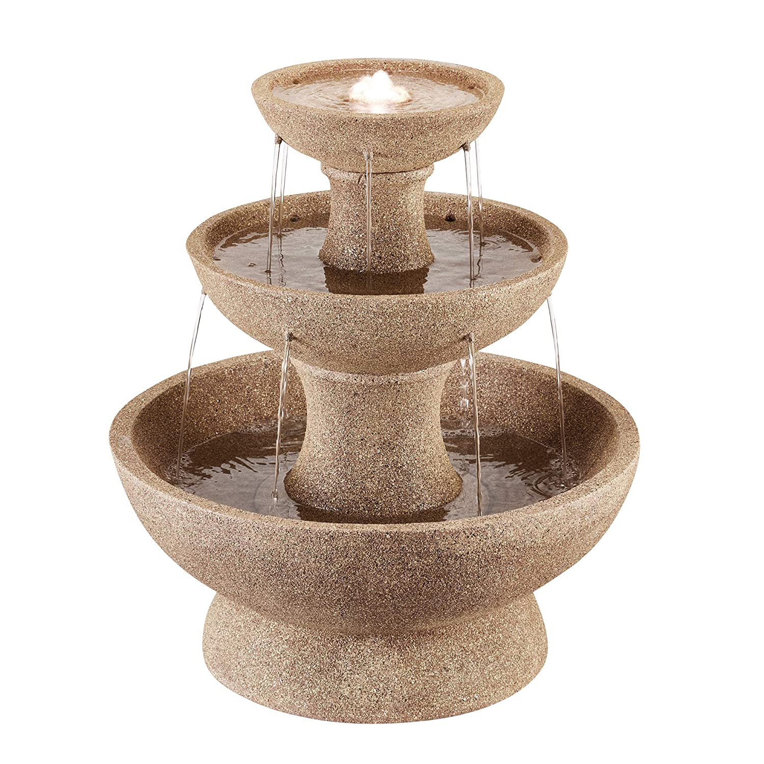 Serenity Three-Tier LED Cascade Water Feature, Modern, Self-Contained for Garden, Courtyard & Decking, Weatherproof (Height- 62.5cm)