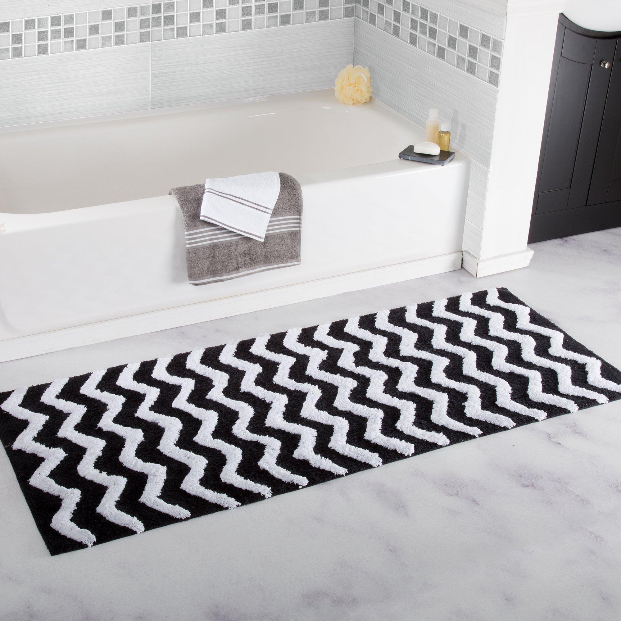 Bedford Home 100% Cotton Chevron Bathroom Mat - 24x60 inches - Black