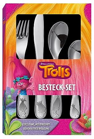 Trolls Cubertería (4 piezas con relieve de acero inoxidable en calidad premium: Amazon.es: Juguetes y juegos