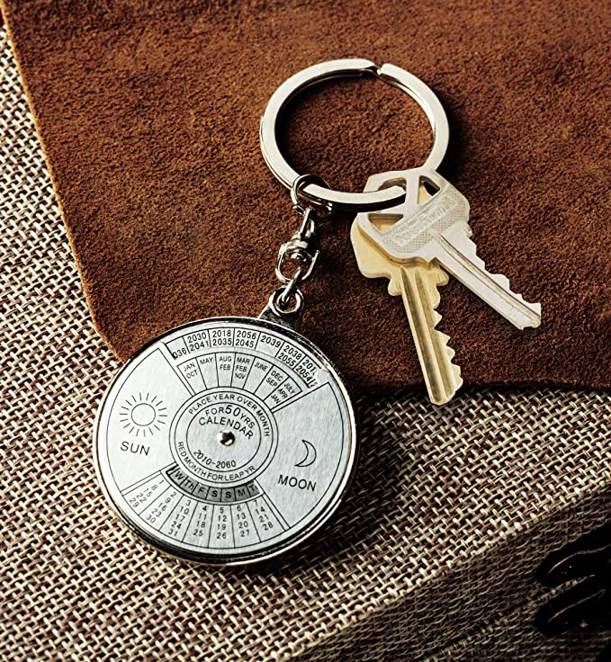 50 Year Perpetual Calendar Key Ring, Unique Calendar Mini Metal Keychain