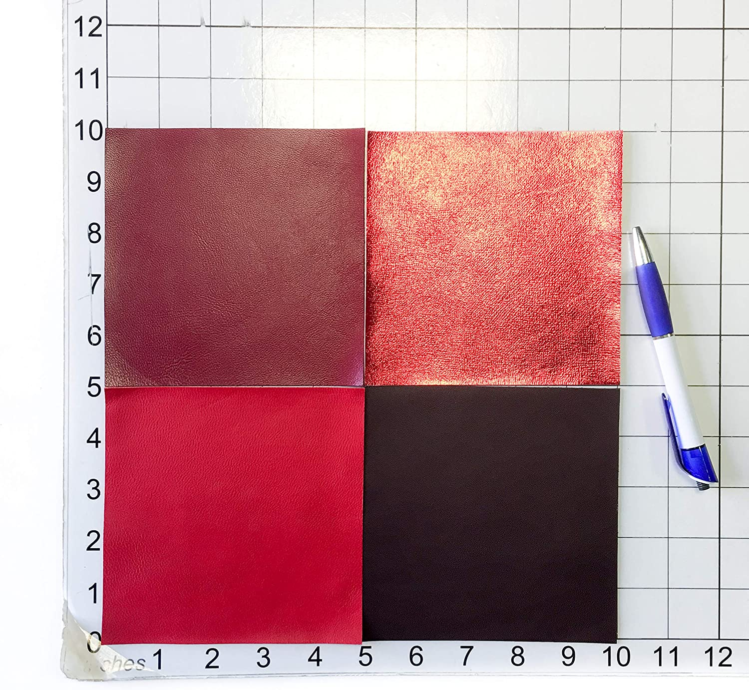 RED Italian FLEET Leather Calf Cow Hide Scraps Scrap Square Pieces Swatches Samples  5x5-20x20in.