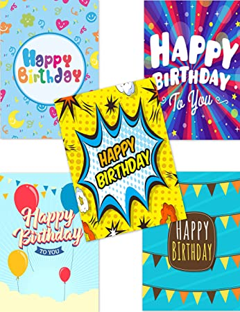 Pack Of 10 Budget Birthday Cards Modern Designs Envelopes By Greetingles Made In UK