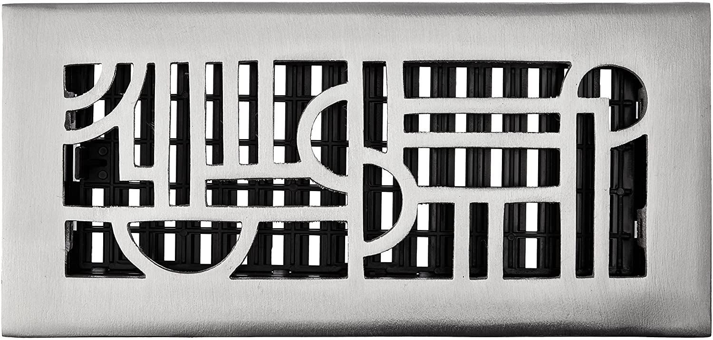 Decor Grates ADA410-NKL 4-Inch by 10-Inch Art Deco Aluminum Nickel Floor Register, Cast Aluminum with Brushed Nickel Finish