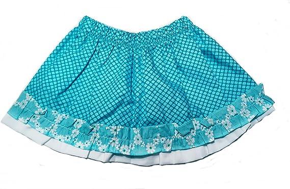 Godettia Falda de Niña Rizada Color Azul |100% Algodón| con Forro ...