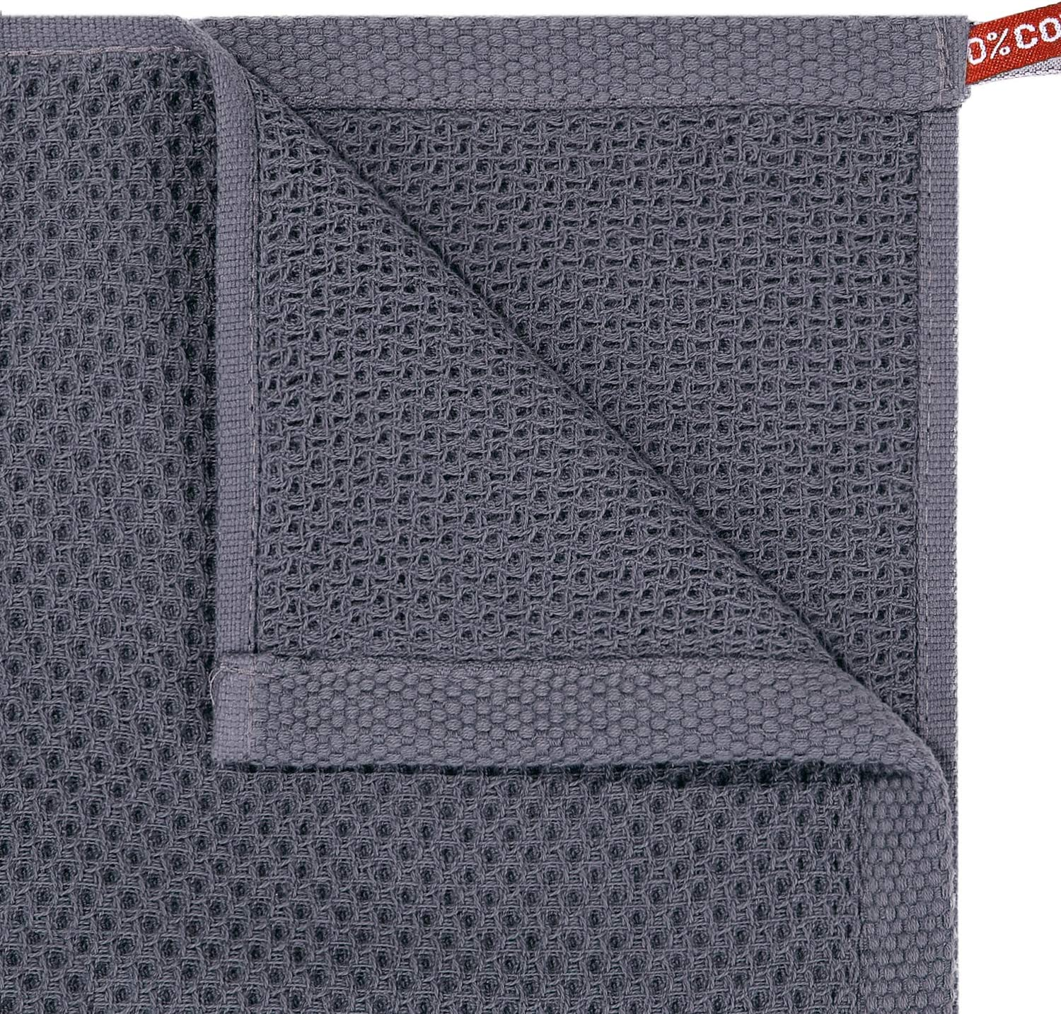 Homaxy 100% Cotton Waffle Weave Kitchen Dish Cloths, Ultra Soft Absorbent Quick Drying Dish Towels, 12x12 Inches, 6-Pack, Dark Grey: Home & Kitchen
