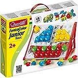Quercetti 4195 - Fanta Color Junior Basic, Chiodini, compresi 48 grandi chiodini colorati e poster stampati su entrambi i lati