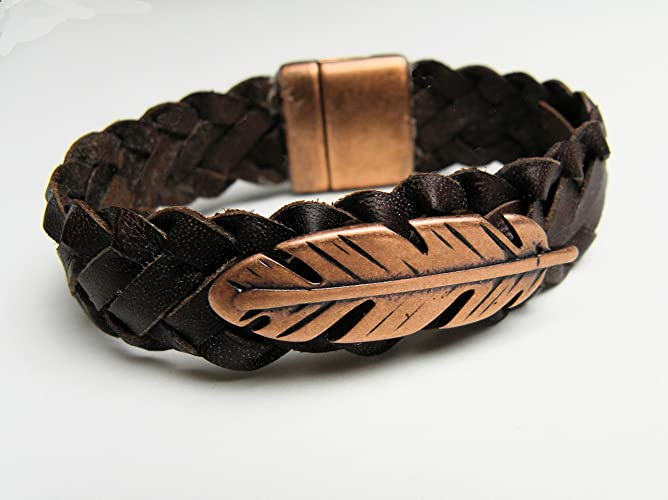 ab4b39937dd47 Amazon.com: Kangaroo Leather Brown Lace Flat Braid Bracelet Copper ...