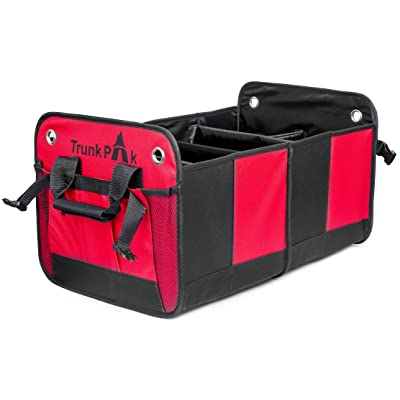 Trunk Organizer - Collapsible Car Organizer For All Types Of Vehicles - Vehicle Storage & Car Trunk Box For & Auto Home Use - Heavy Duty Fabric With Steady Cardboard - 6 Compartments - Red & Black: Automotive