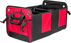 TRUNKPAK Trunk Organizer - Collapsible Car Organizer All Types Vehicles - Vehicle Storage & Car Trunk Box Auto Home Use - Heavy Duty Fabric Steady Cardboard - 6 Compartments - Red & Black